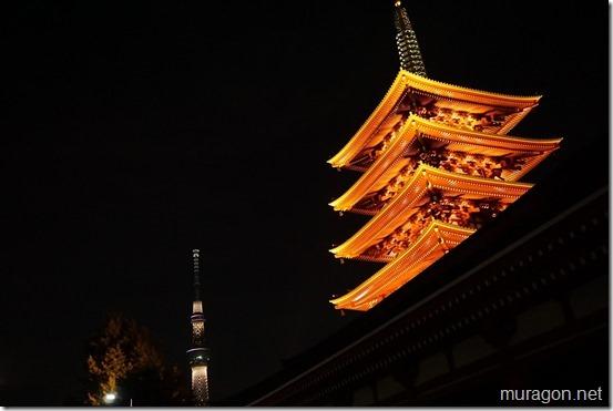 ライトアップされた浅草寺の五重塔と東京スカイツリー