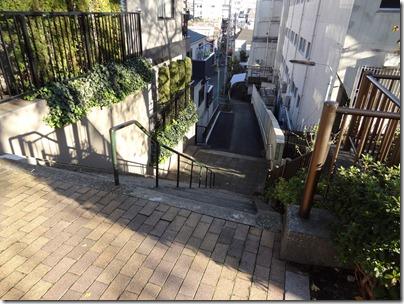台地のへりにある階段