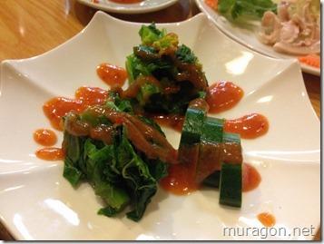 野菜の甘味噌掛け