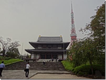 増上寺本堂と東京タワー