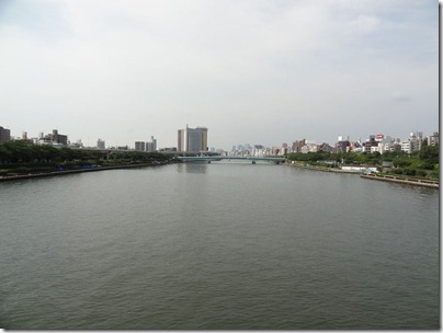 桜橋上から下流側を眺め